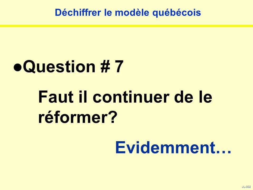Déchiffrer le modèle québécois Question # 7 Faut il continuer de le réformer? Evidemment… JL-002