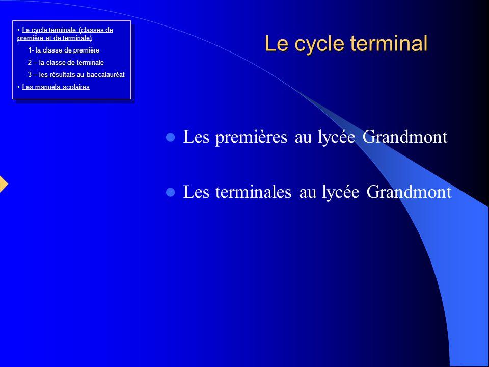 Le cycle terminal Les premières au lycée Grandmont Les terminales au lycée Grandmont Le cycle terminale (classes de première et de terminale)Le cycle