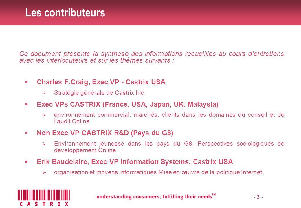 - 4 - Intervenants Organisation du site Castrix Structure du groupe