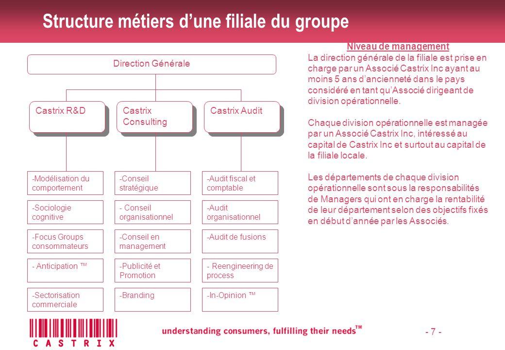 - 8 - Intervenants Structure du groupe Organisation du site Castrix
