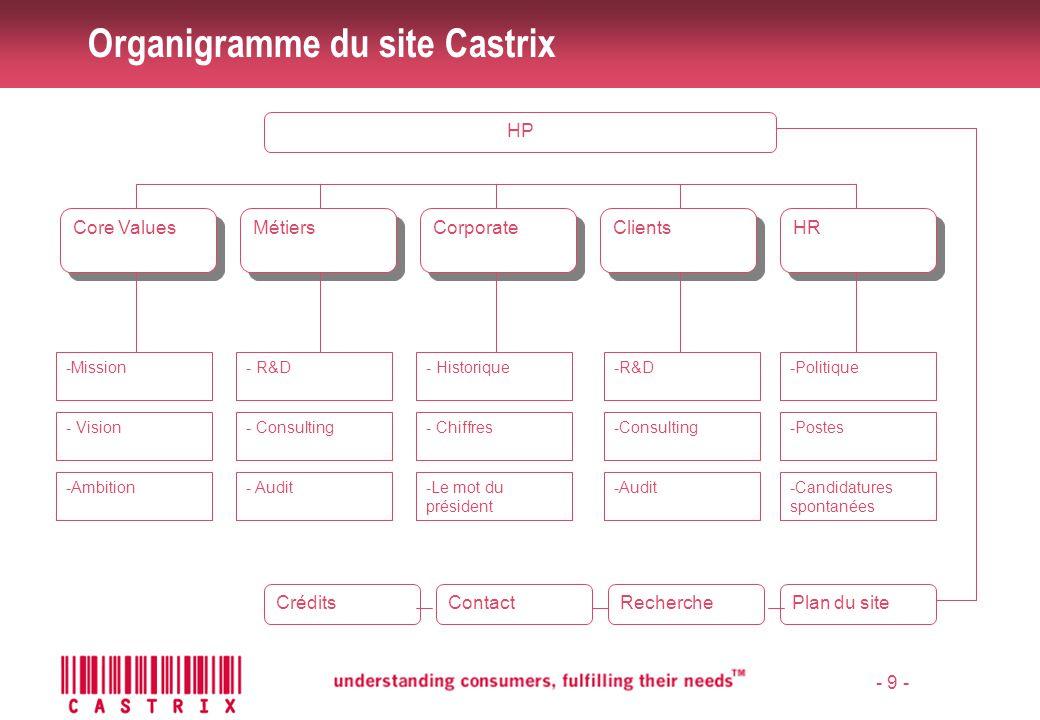 - 10 - Organisation du site Castrix Structure du groupe Intervenants