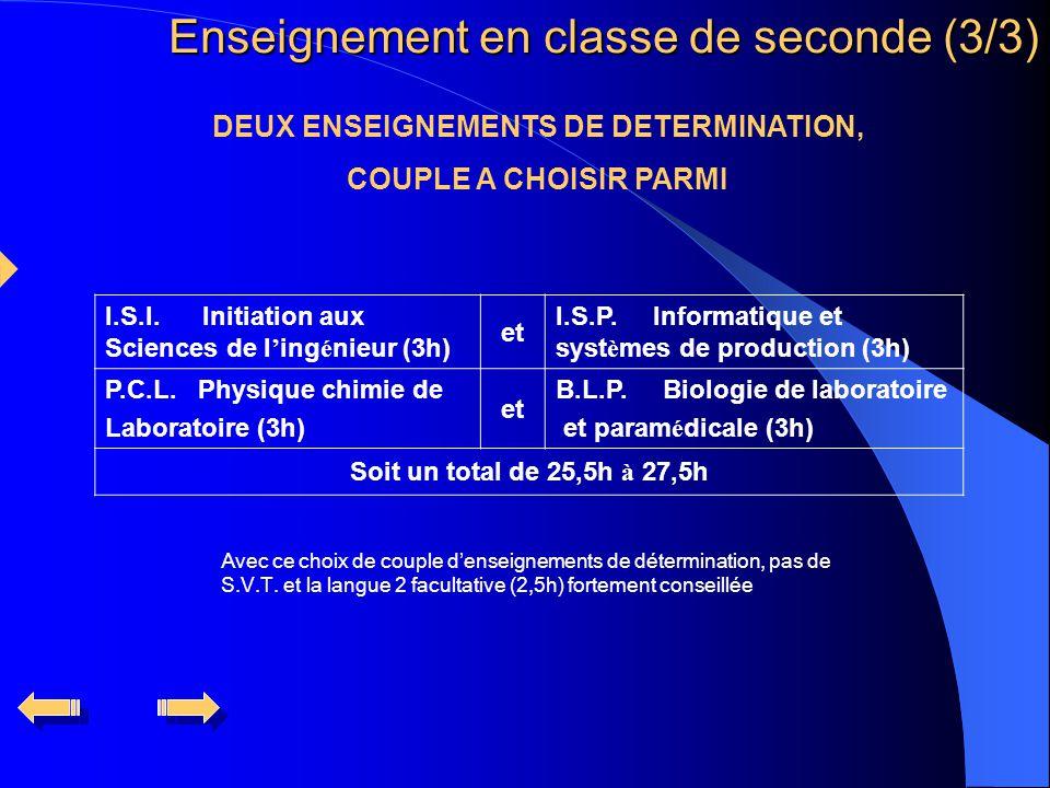 DEUX ENSEIGNEMENTS DE DETERMINATION, COUPLE A CHOISIR PARMI I.S.I.