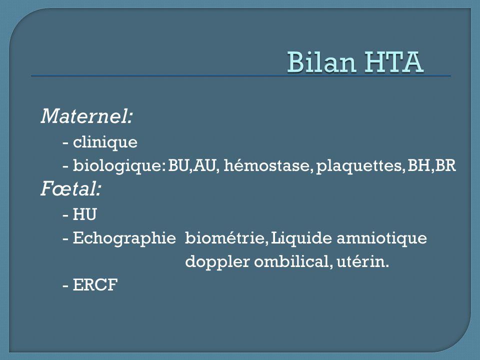 Maternel: - clinique - biologique: BU,AU, hémostase, plaquettes, BH,BR Fœtal: - HU - Echographiebiométrie, Liquide amniotique doppler ombilical, utéri