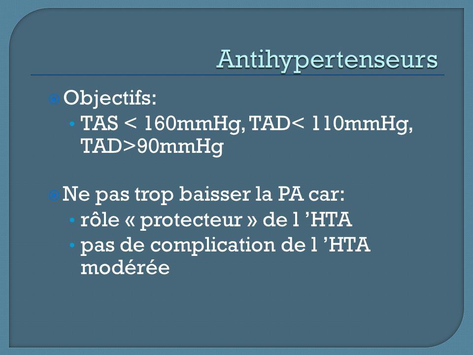  Objectifs: TAS 90mmHg  Ne pas trop baisser la PA car: rôle « protecteur » de l 'HTA pas de complication de l 'HTA modérée