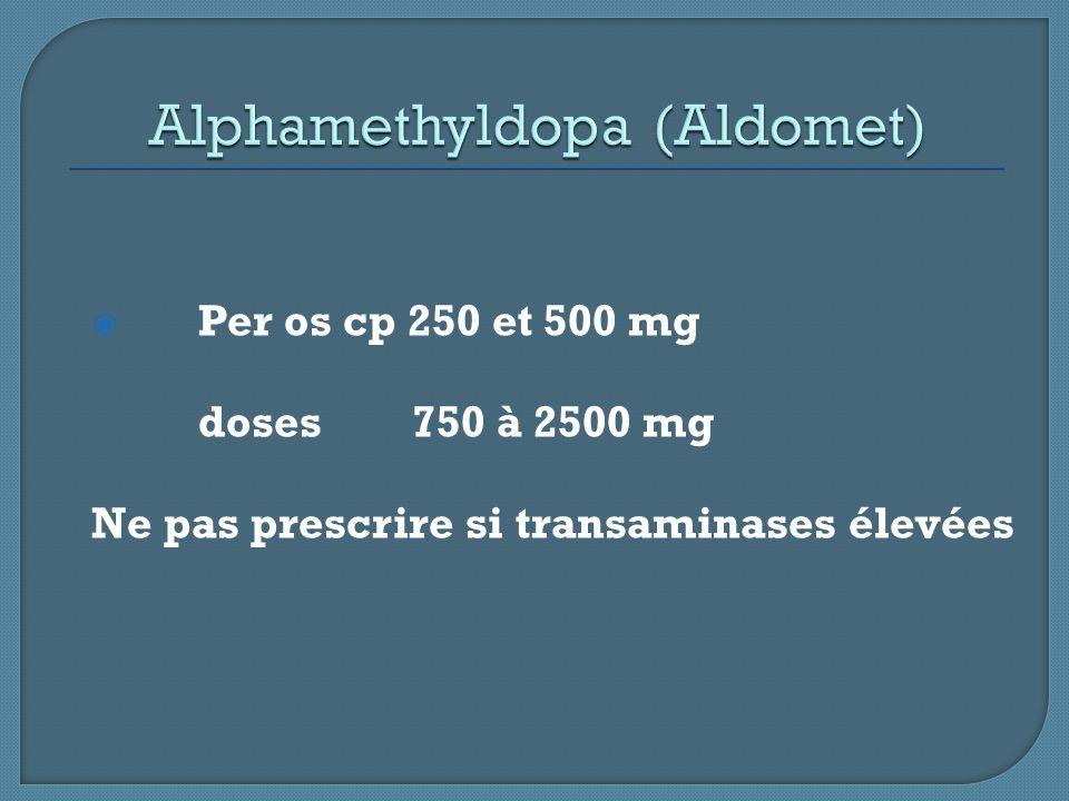  Per os cp 250 et 500 mg doses750 à 2500 mg Ne pas prescrire si transaminases élevées