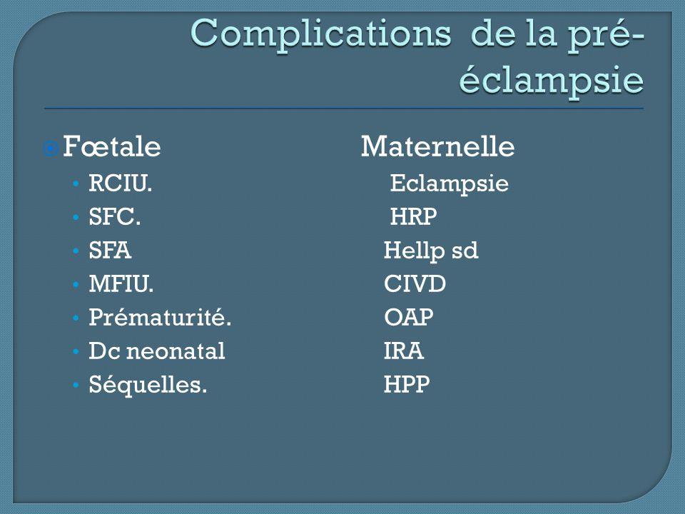  Fœtale Maternelle RCIU. Eclampsie SFC. HRP SFA Hellp sd MFIU. CIVD Prématurité. OAP Dc neonatal IRA Séquelles. HPP