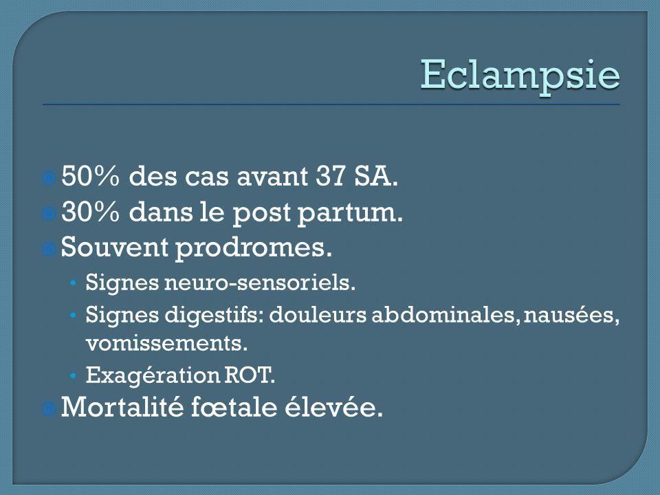  50% des cas avant 37 SA.  30% dans le post partum.  Souvent prodromes. Signes neuro-sensoriels. Signes digestifs: douleurs abdominales, nausées, v