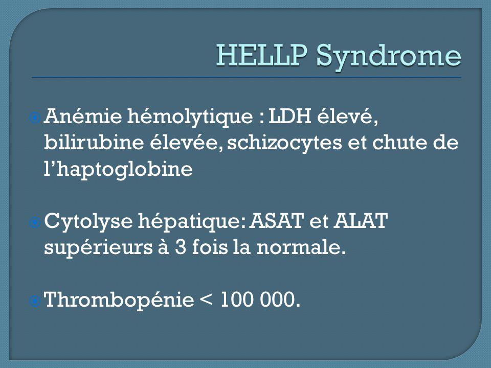  Anémie hémolytique : LDH élevé, bilirubine élevée, schizocytes et chute de l'haptoglobine  Cytolyse hépatique: ASAT et ALAT supérieurs à 3 fois la