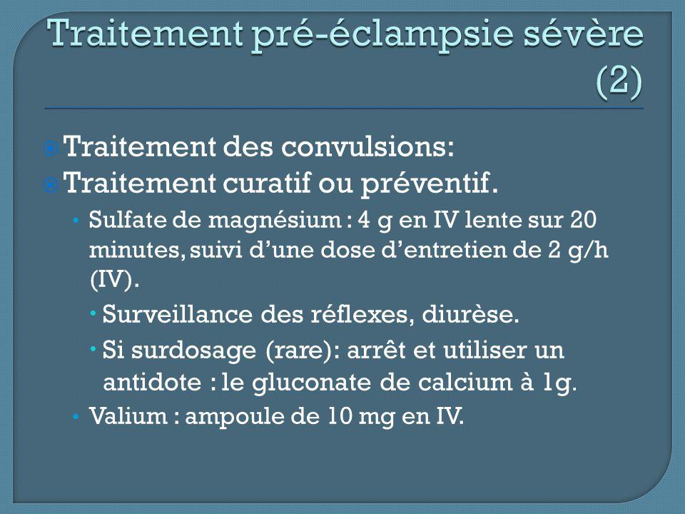  Traitement des convulsions:  Traitement curatif ou préventif. Sulfate de magnésium : 4 g en IV lente sur 20 minutes, suivi d'une dose d'entretien d