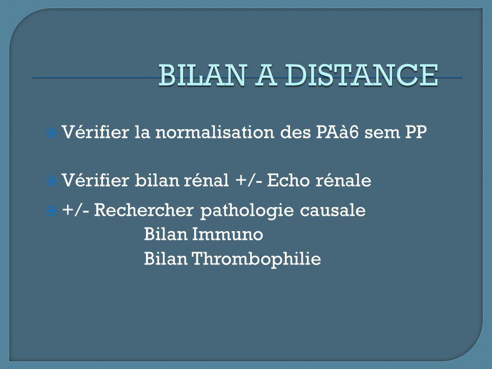  Vérifier la normalisation des PAà6 sem PP  Vérifier bilan rénal +/- Echo rénale  +/- Rechercher pathologie causale Bilan Immuno Bilan Thrombophili