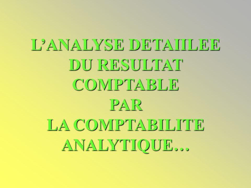 L'ANALYSE DETAIILEE DU RESULTAT COMPTABLE PAR LA COMPTABILITE ANALYTIQUE…