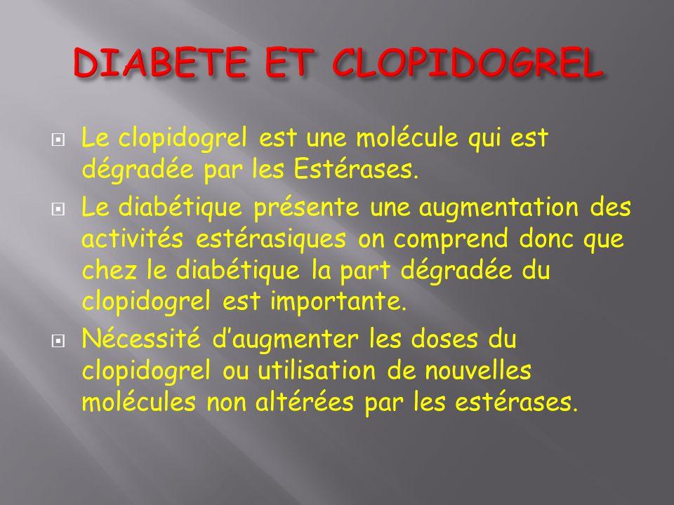  Le clopidogrel est une molécule qui est dégradée par les Estérases.  Le diabétique présente une augmentation des activités estérasiques on comprend