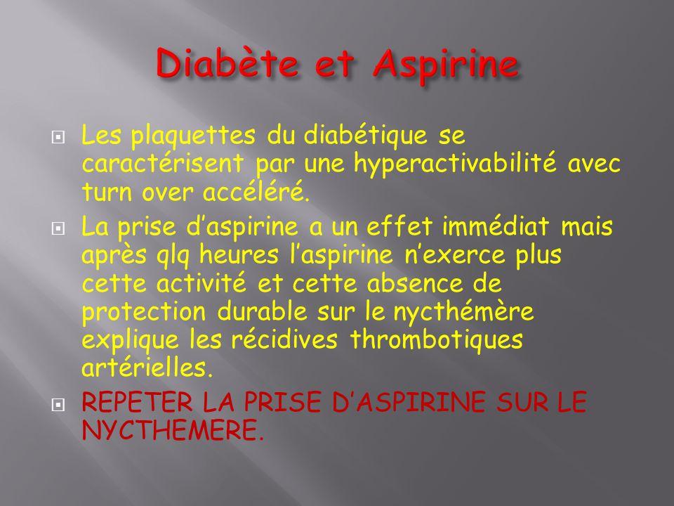  Les plaquettes du diabétique se caractérisent par une hyperactivabilité avec turn over accéléré.  La prise d'aspirine a un effet immédiat mais aprè