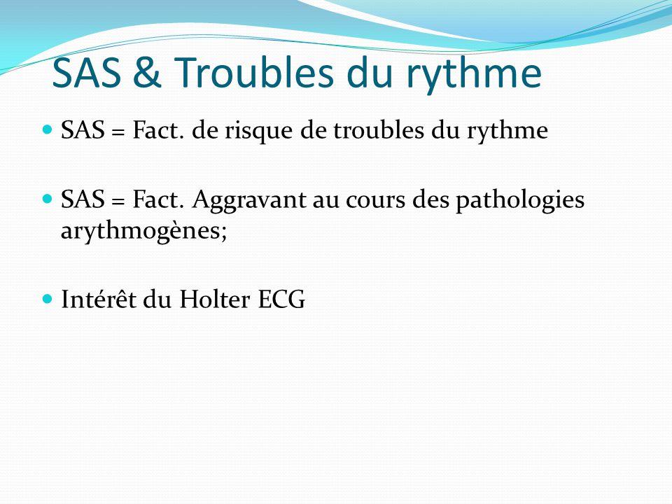 SAS & Troubles du rythme SAS = Fact.de risque de troubles du rythme SAS = Fact.