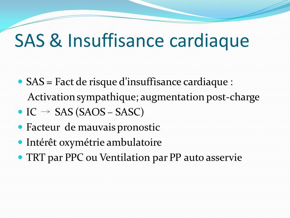 SAS & Insuffisance cardiaque SAS = Fact de risque d'insuffisance cardiaque : Activation sympathique; augmentation post-charge IC SAS (SAOS – SASC) Facteur de mauvais pronostic Intérêt oxymétrie ambulatoire TRT par PPC ou Ventilation par PP auto asservie