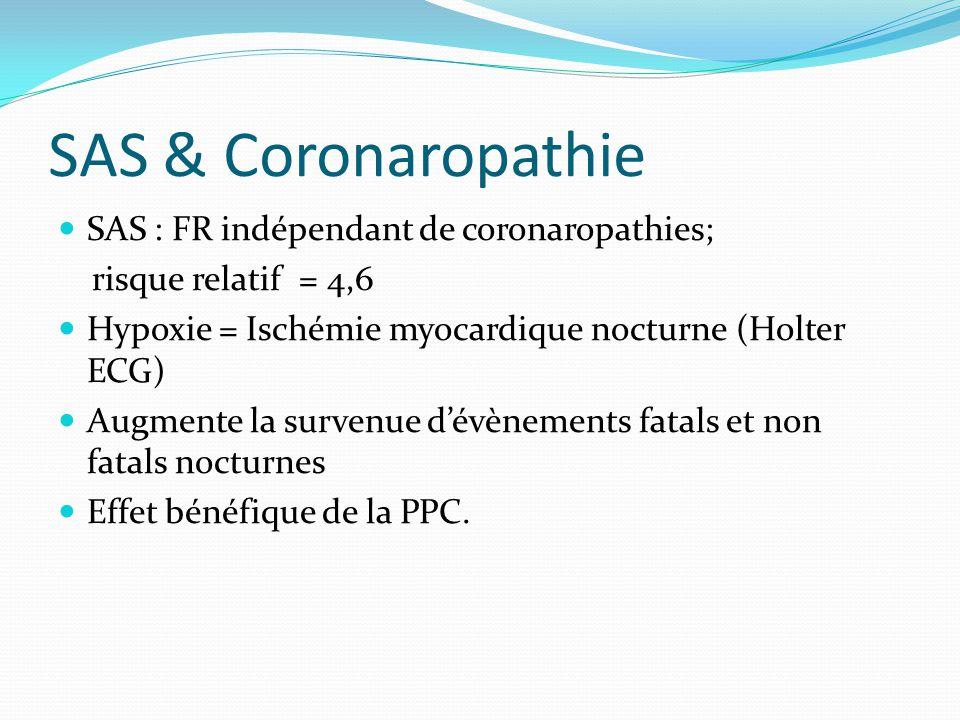 SAS & Coronaropathie SAS : FR indépendant de coronaropathies; risque relatif = 4,6 Hypoxie = Ischémie myocardique nocturne (Holter ECG) Augmente la survenue d'évènements fatals et non fatals nocturnes Effet bénéfique de la PPC.