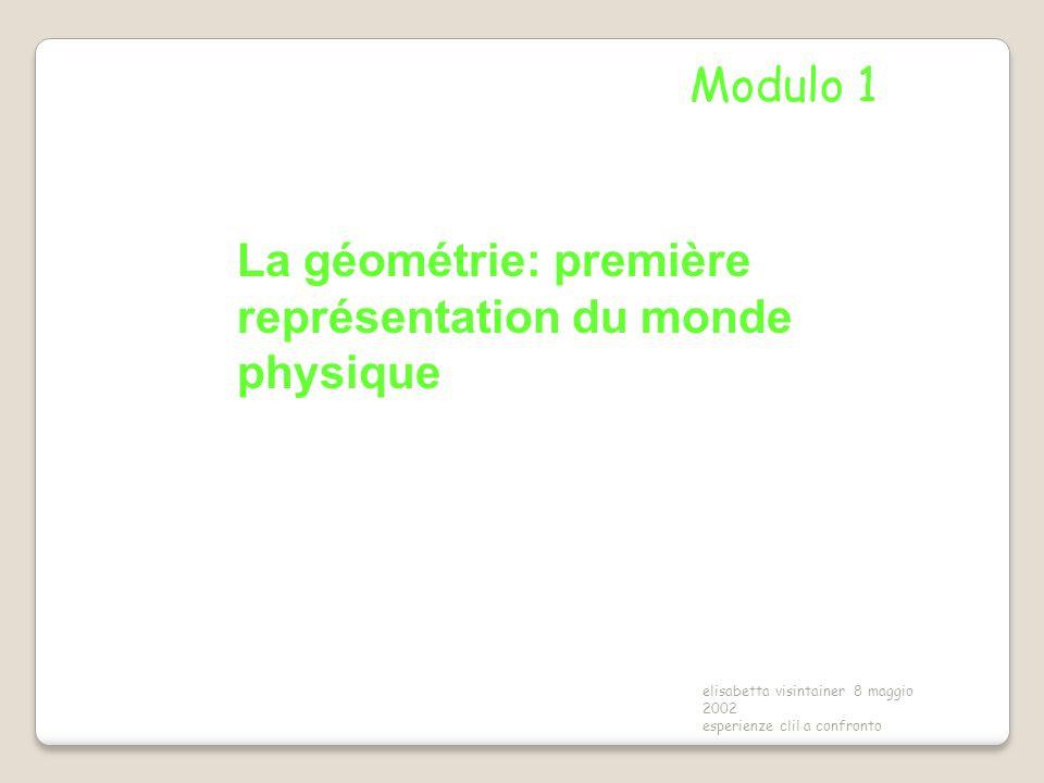 elisabetta visintainer 8 maggio 2002 esperienze clil a confronto La géométrie: première représentation du monde physique Modulo 1