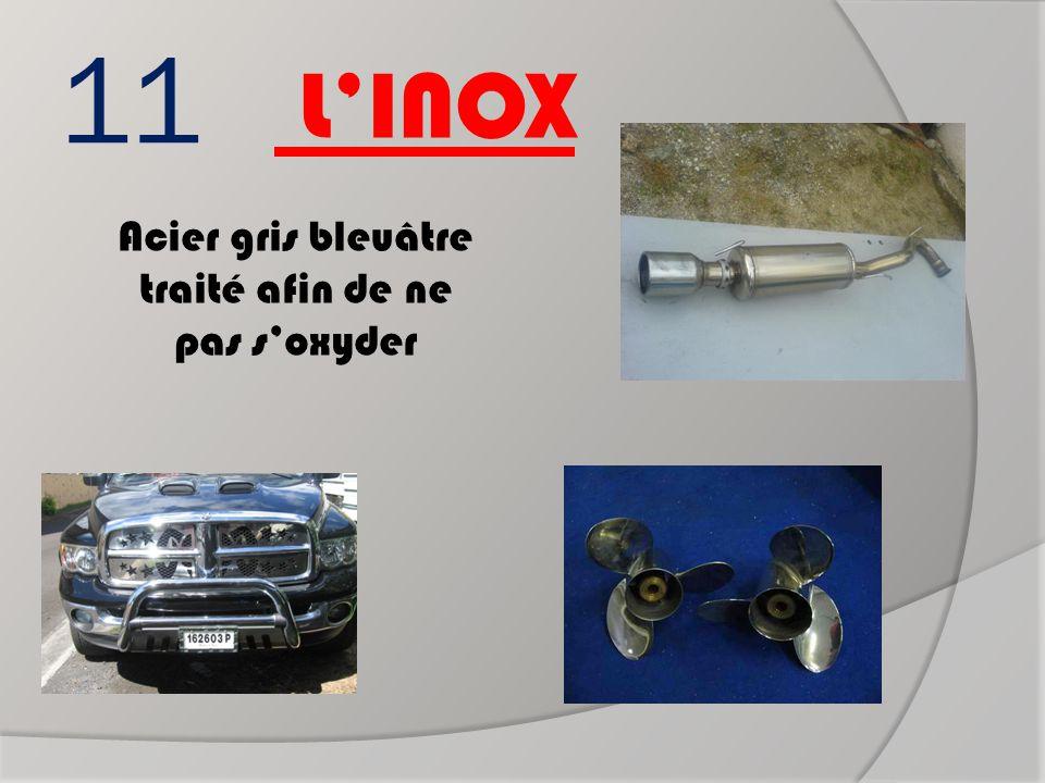 11 Acier gris bleuâtre traité afin de ne pas s'oxyder L'INOX Pot d'échappement Hélice Parre buffle