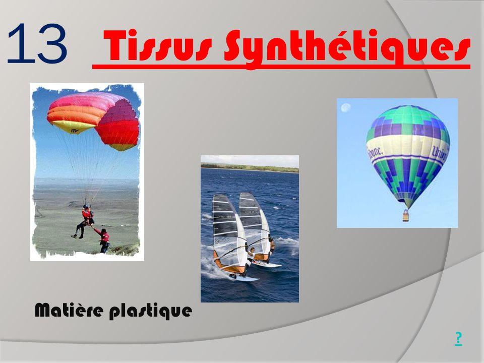 13 Matière plastique Montgolfière Parapente Planche à voile ? Tissus Synthétiques