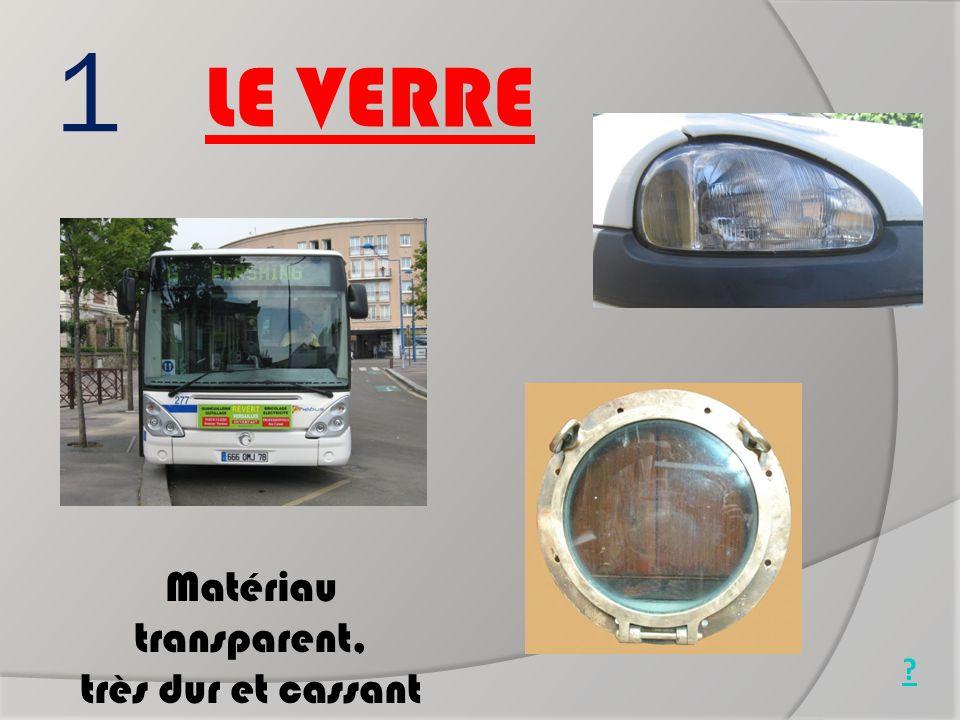 1 LE VERRE Matériau transparent, très dur et cassant Pare brise Phare de voiture Hublot de bateau ?