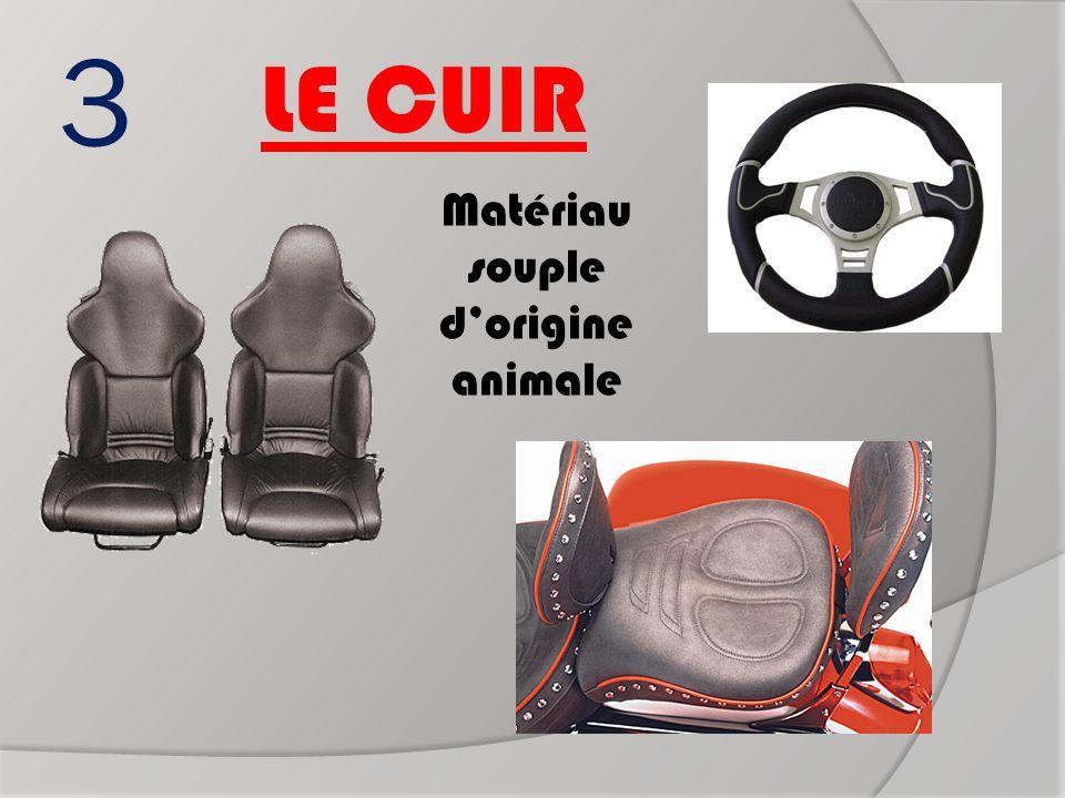 3 LE CUIR Matériau souple d'origine animale fauteuils de voiture Volant de voiture Selle de moto ?