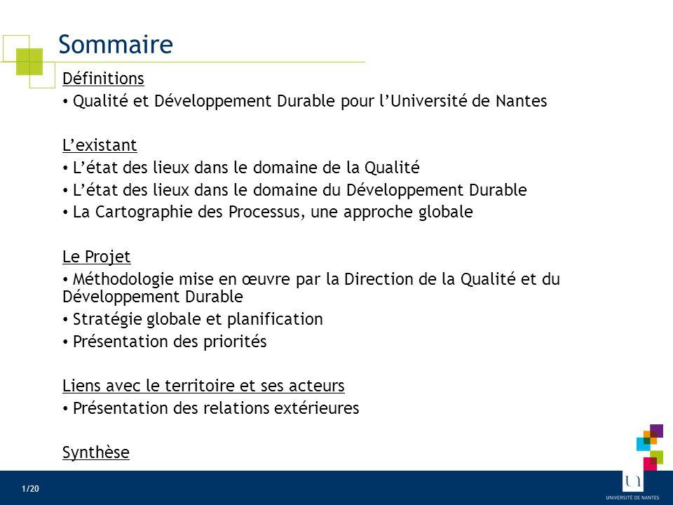 Sommaire Définitions Qualité et Développement Durable pour l'Université de Nantes L'existant L'état des lieux dans le domaine de la Qualité L'état des