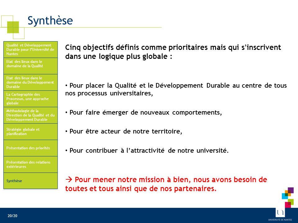 Synthèse Cinq objectifs définis comme prioritaires mais qui s'inscrivent dans une logique plus globale : Pour placer la Qualité et le Développement Du