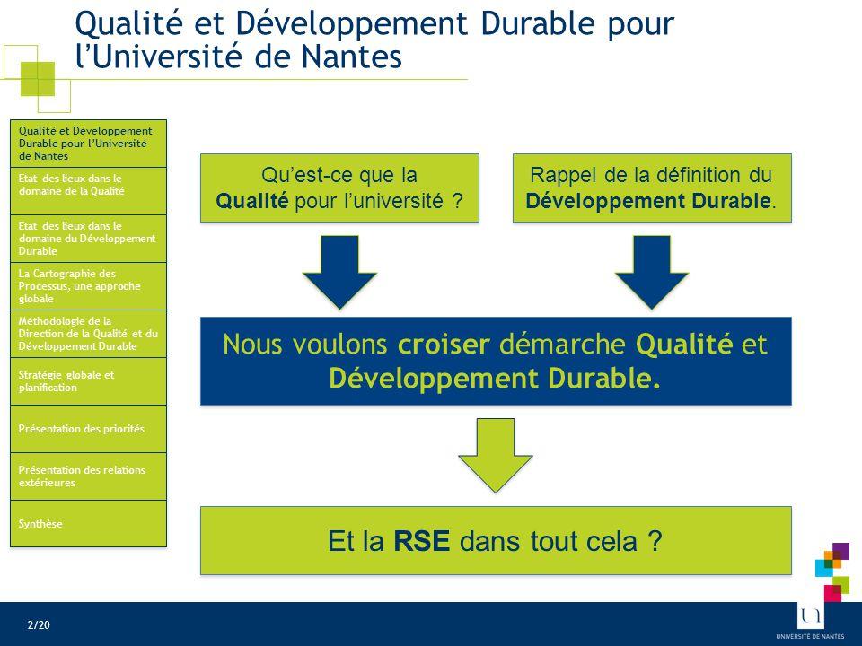 Qualité et Développement Durable pour l'Université de Nantes Etat des lieux dans le domaine de la Qualité Etat des lieux dans le domaine du Développem