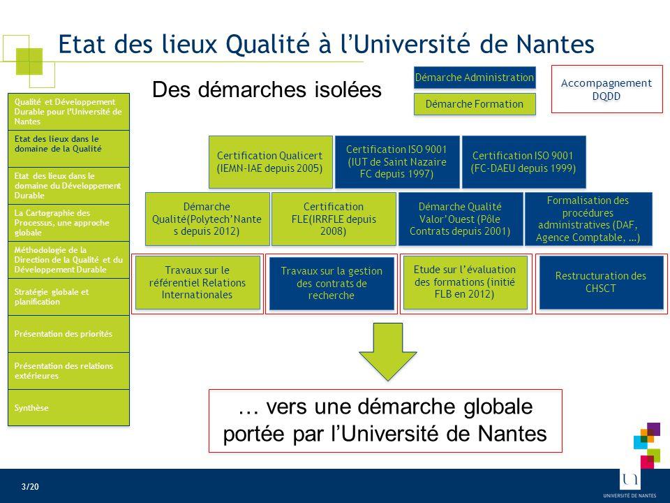 Etat des lieux Qualité à l'Université de Nantes Certification Qualicert (IEMN-IAE depuis 2005) Certification ISO 9001 (IUT de Saint Nazaire FC depuis