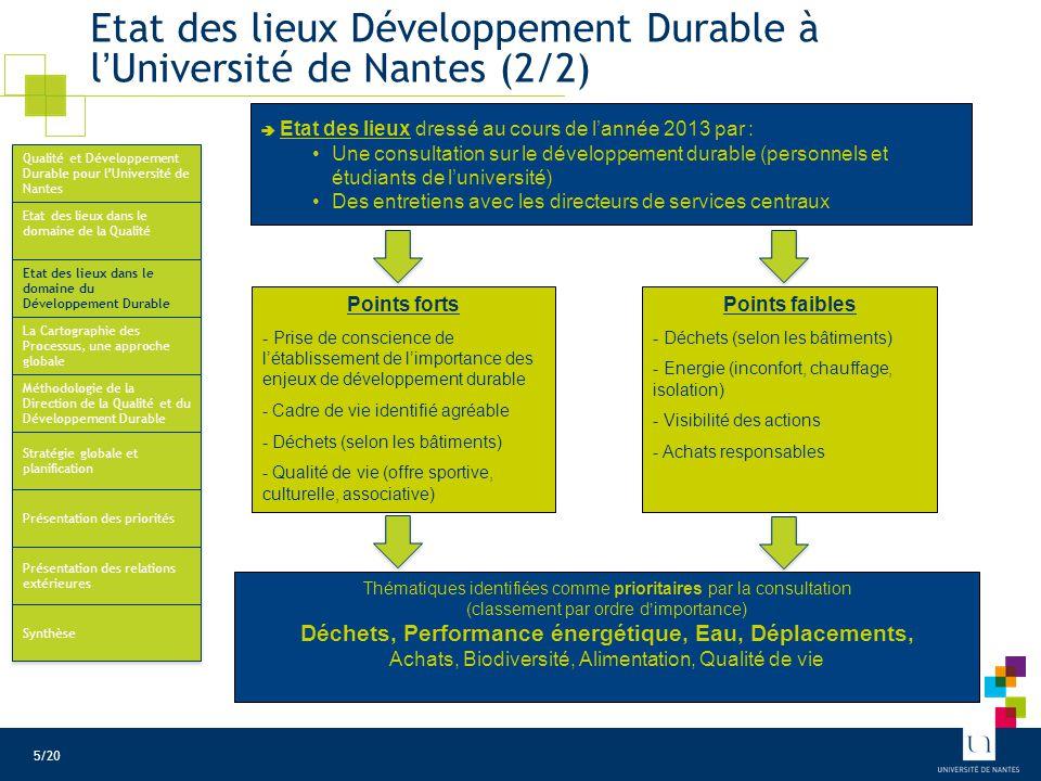 Etat des lieux Développement Durable à l'Université de Nantes (2/2)  Etat des lieux dressé au cours de l'année 2013 par : Une consultation sur le dév