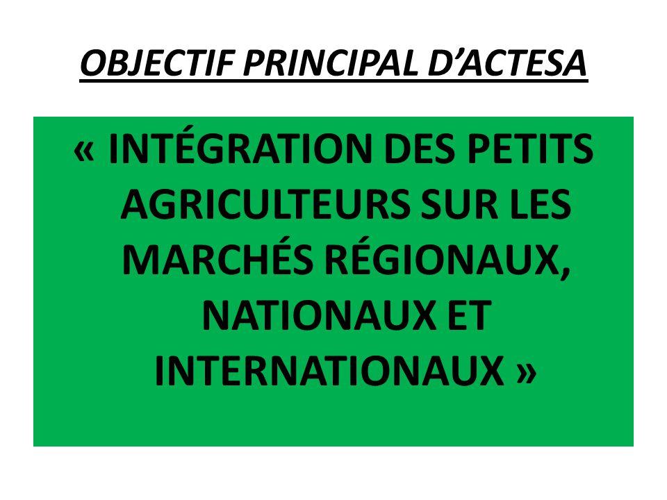 BUTS et OBJECTIFS PLUS LARGES D'ACTESA (i) COMPÉTITIVITÉ du SECTEUR DES CULTURES DE BASE : DIALOGUE POLITIQUE (ii) FOURNITURE DE SERVICES : INTÉGRATION COMMERCIALE (iii) COMMERCIALISATION des PETITS AGRICULTEURS : CAPACITÉ D'IMPLICATION  BUT GÉNÉRAL : RENFORCER LA PRODUCTIVITÉ ET LES REVENUS DES PETITS AGRICULTEURS