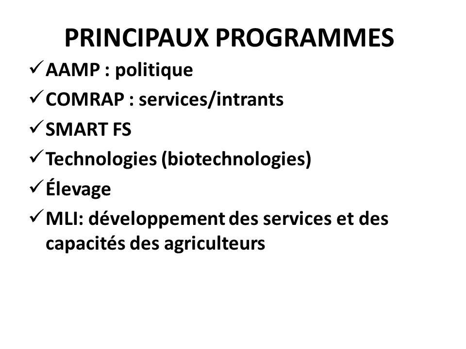 PRINCIPAUX PROGRAMMES AAMP : politique COMRAP : services/intrants SMART FS Technologies (biotechnologies) Élevage MLI: développement des services et d