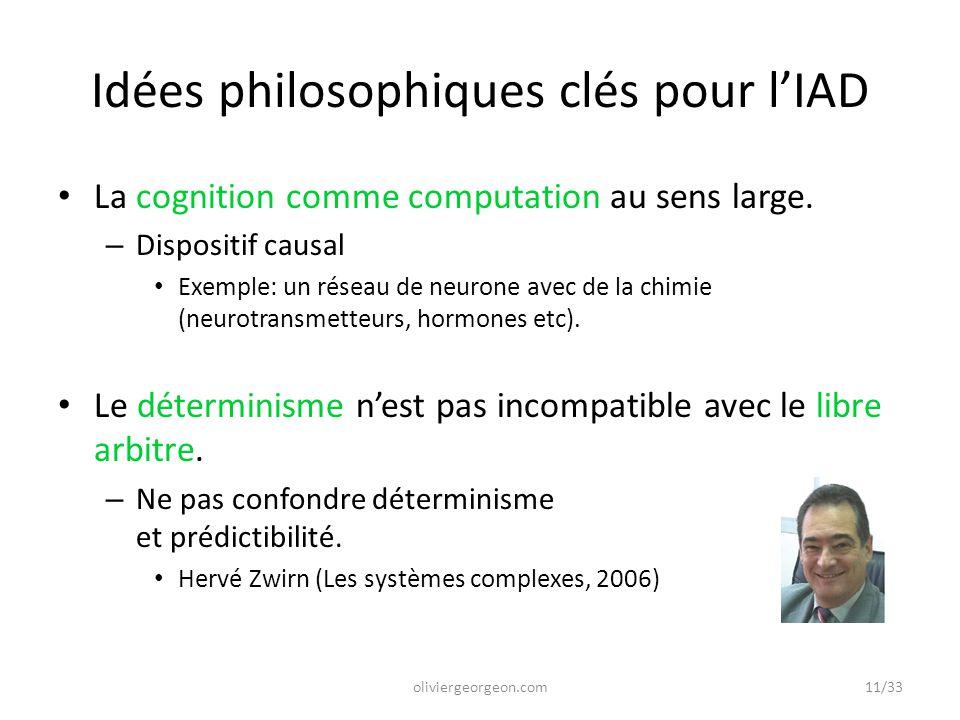 Idées philosophiques clés pour l'IAD La cognition comme computation au sens large. – Dispositif causal Exemple: un réseau de neurone avec de la chimie