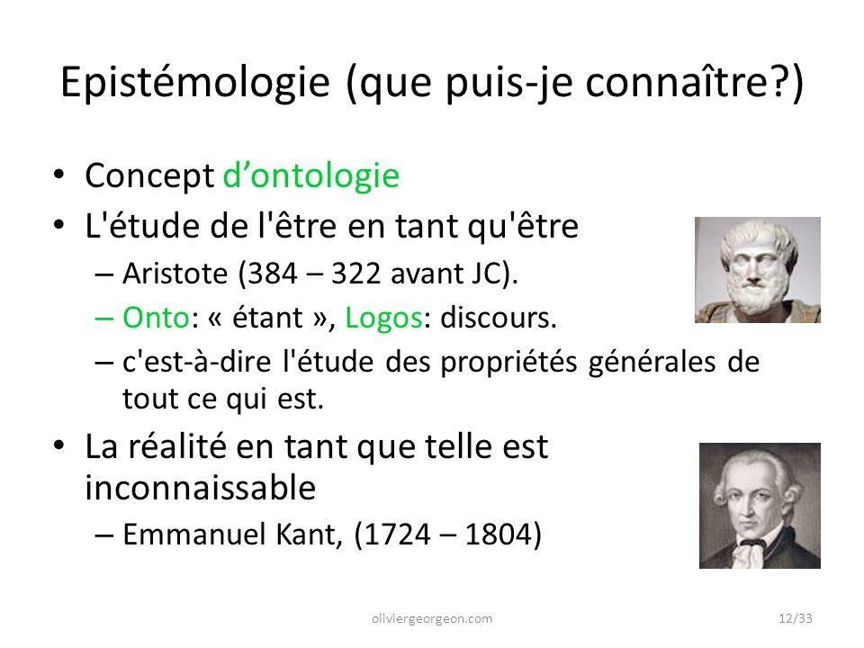 Epistémologie (que puis-je connaître?) Concept d'ontologie L'étude de l'être en tant qu'être – Aristote (384 – 322 avant JC). – Onto: « étant », Logos