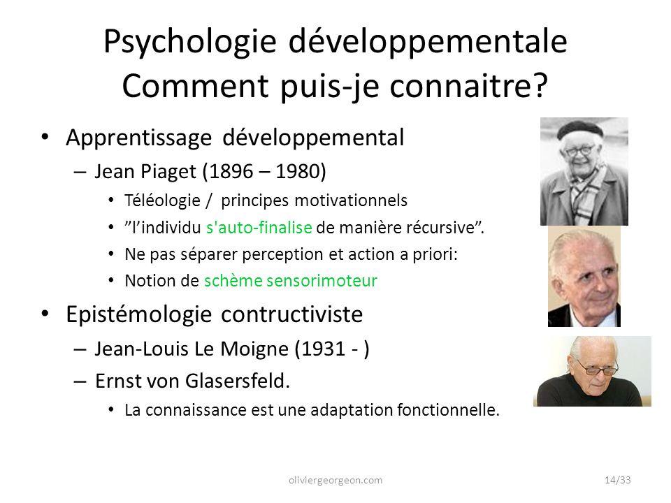 Psychologie développementale Comment puis-je connaitre? Apprentissage développemental – Jean Piaget (1896 – 1980) Téléologie / principes motivationnel