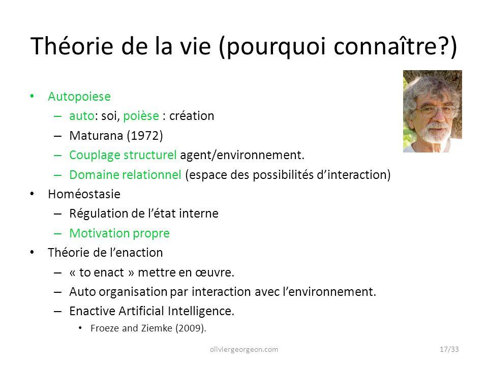 Théorie de la vie (pourquoi connaître?) Autopoiese – auto: soi, poièse : création – Maturana (1972) – Couplage structurel agent/environnement. – Domai