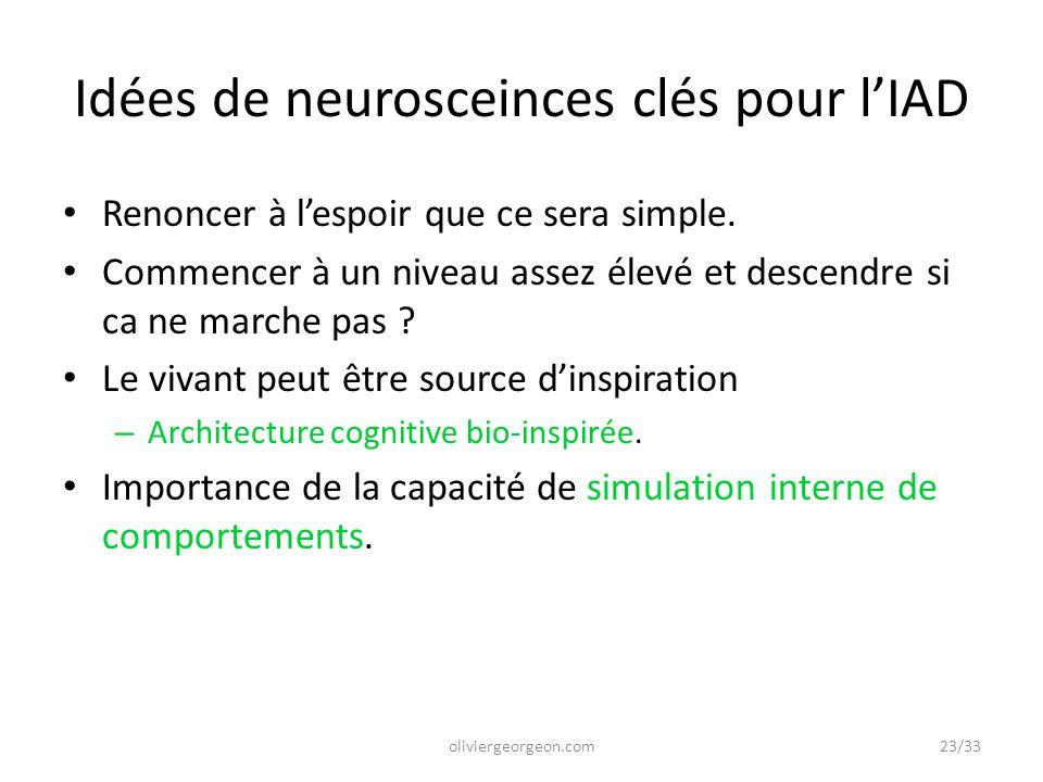 Idées de neurosceinces clés pour l'IAD Renoncer à l'espoir que ce sera simple. Commencer à un niveau assez élevé et descendre si ca ne marche pas ? Le