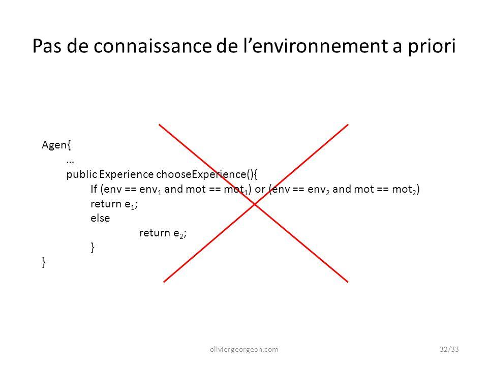 Pas de connaissance de l'environnement a priori Agen{ … public Experience chooseExperience(){ If (env == env 1 and mot == mot 1 ) or (env == env 2 and
