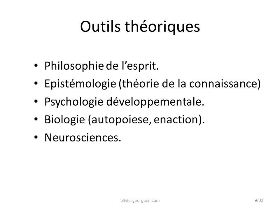 Outils théoriques Philosophie de l'esprit. Epistémologie (théorie de la connaissance) Psychologie développementale. Biologie (autopoiese, enaction). N