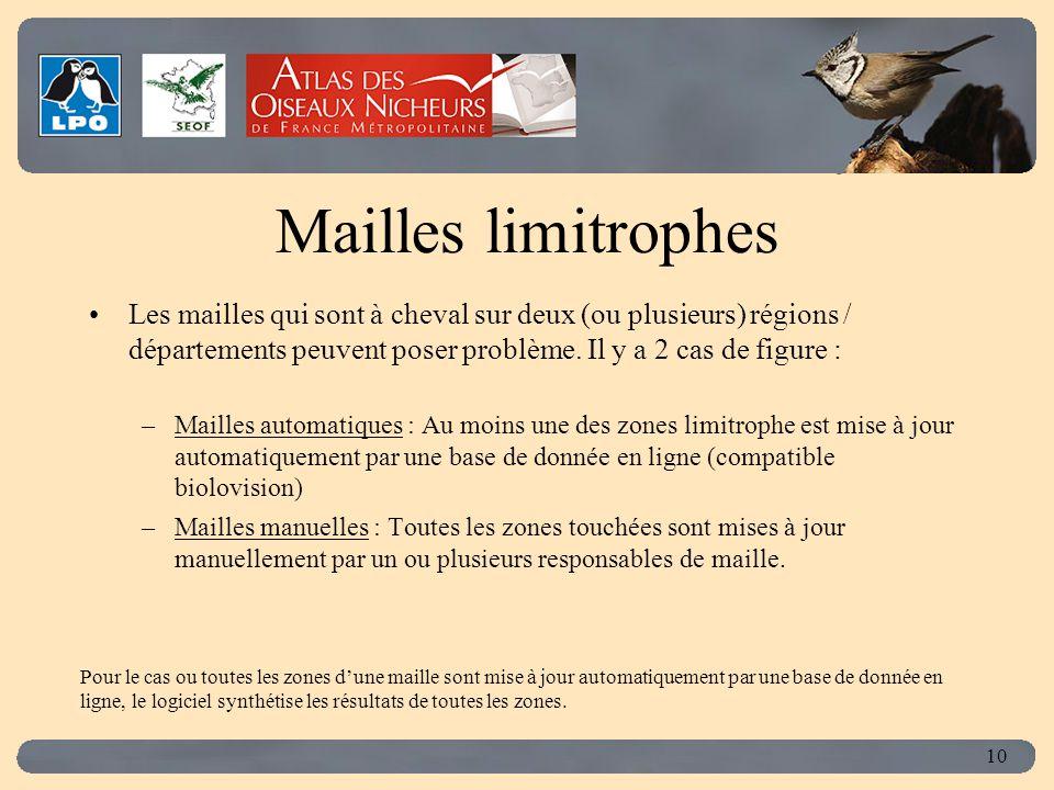 Click to edit Master title style 10 Mailles limitrophes Les mailles qui sont à cheval sur deux (ou plusieurs) régions / départements peuvent poser problème.