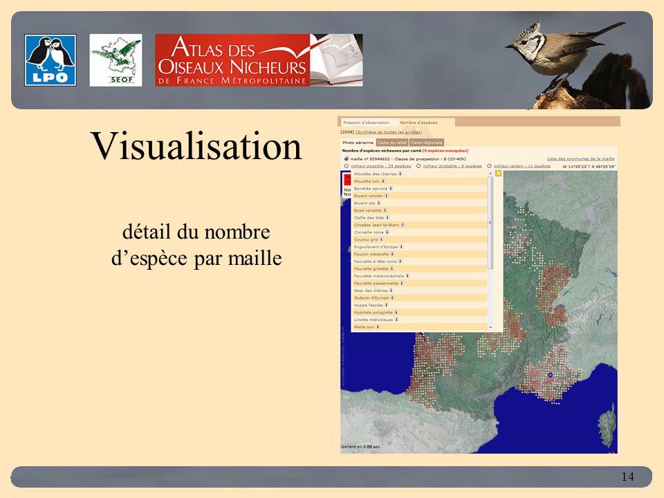 Click to edit Master title style 14 Visualisation détail du nombre d'espèce par maille
