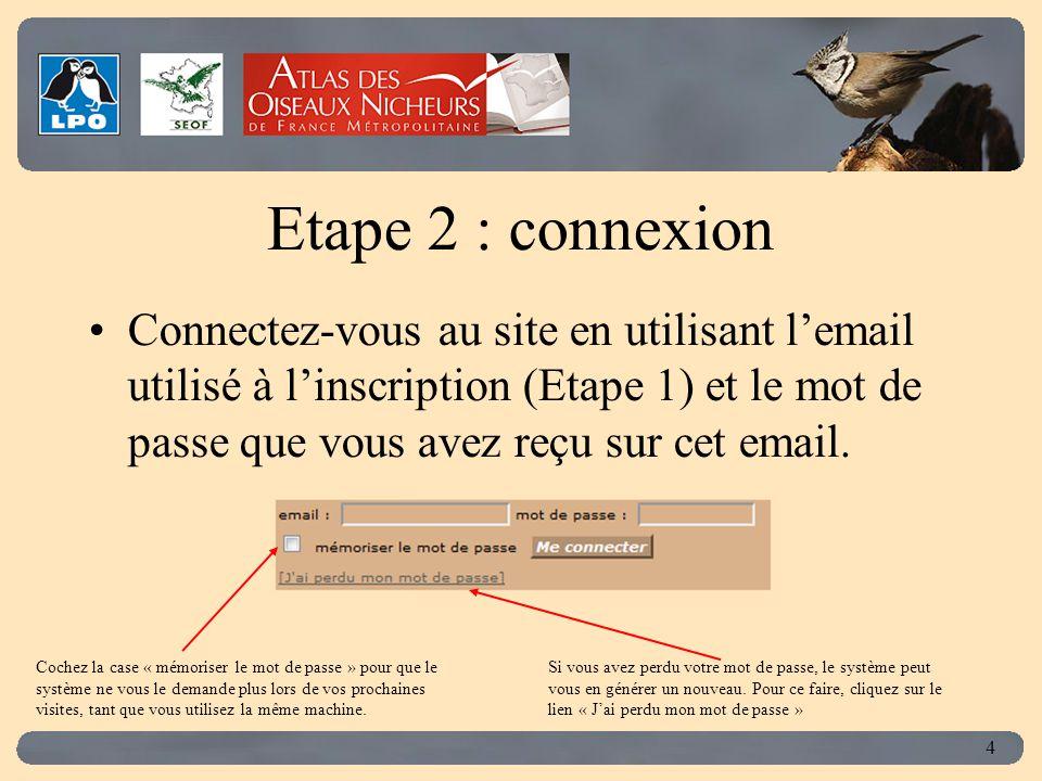 Click to edit Master title style 4 Etape 2 : connexion Connectez-vous au site en utilisant l'email utilisé à l'inscription (Etape 1) et le mot de pass