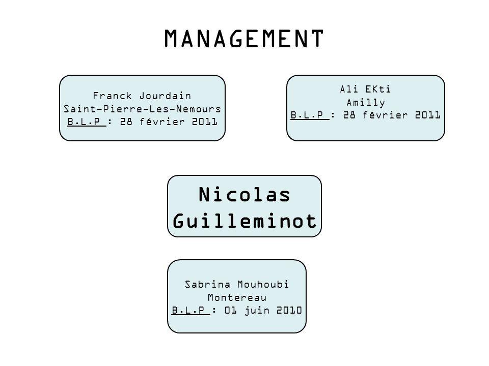 MANAGEMENT Nicolas Guilleminot Franck Jourdain Saint-Pierre-Les-Nemours B.L.P : 28 février 2011 Sabrina Mouhoubi Montereau B.L.P : 01 juin 2010 Ali EK