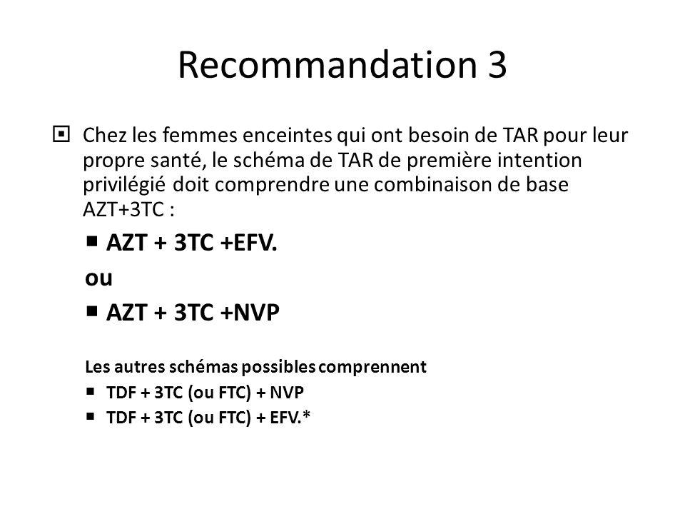 Recommandation 3  Chez les femmes enceintes qui ont besoin de TAR pour leur propre santé, le schéma de TAR de première intention privilégié doit comprendre une combinaison de base AZT+3TC :  AZT + 3TC +EFV.