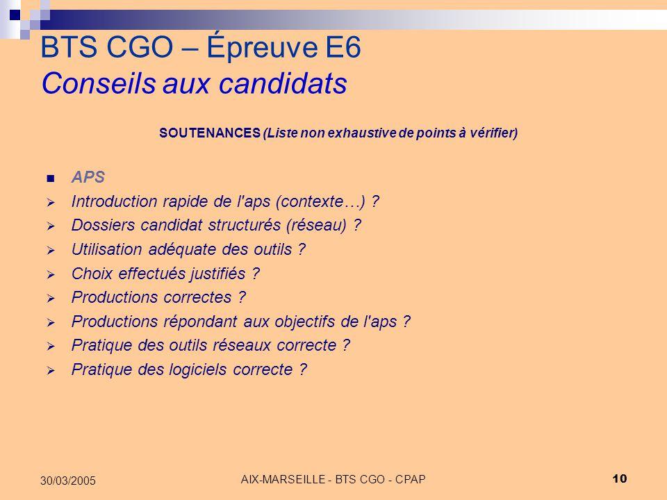 AIX-MARSEILLE - BTS CGO - CPAP 10 30/03/2005 BTS CGO – Épreuve E6 Conseils aux candidats APS  Introduction rapide de l'aps (contexte…) ?  Dossiers c