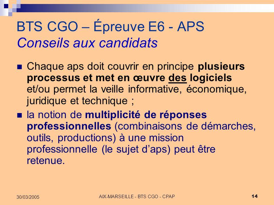 AIX-MARSEILLE - BTS CGO - CPAP 14 30/03/2005 BTS CGO – Épreuve E6 - APS Conseils aux candidats Chaque aps doit couvrir en principe plusieurs processus