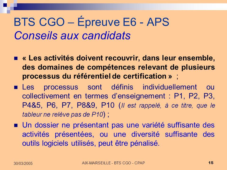 AIX-MARSEILLE - BTS CGO - CPAP 15 30/03/2005 BTS CGO – Épreuve E6 - APS Conseils aux candidats « Les activités doivent recouvrir, dans leur ensemble,