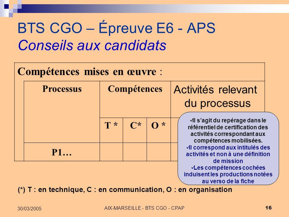 AIX-MARSEILLE - BTS CGO - CPAP 16 30/03/2005 BTS CGO – Épreuve E6 - APS Conseils aux candidats Compétences mises en œuvre : ProcessusCompétences Activ
