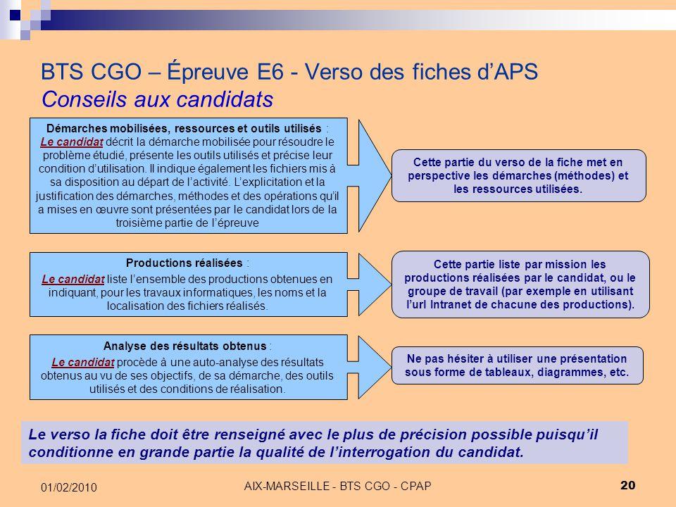 AIX-MARSEILLE - BTS CGO - CPAP 20 01/02/2010 BTS CGO – Épreuve E6 - Verso des fiches d'APS Conseils aux candidats Le verso la fiche doit être renseign