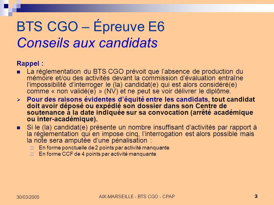 AIX-MARSEILLE - BTS CGO - CPAP 14 30/03/2005 BTS CGO – Épreuve E6 - APS Conseils aux candidats Chaque aps doit couvrir en principe plusieurs processus et met en œuvre des logiciels et/ou permet la veille informative, économique, juridique et technique ; la notion de multiplicité de réponses professionnelles (combinaisons de démarches, outils, productions) à une mission professionnelle (le sujet d'aps) peut être retenue.